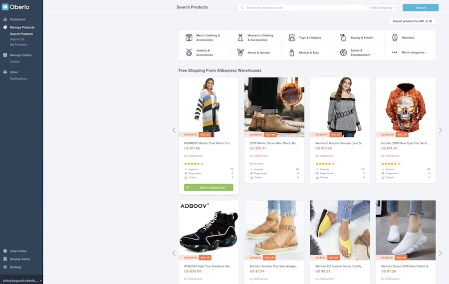 dropshipping med oberlo