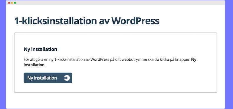 Wordpress installation med ett klick